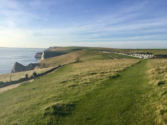 Widok na wybrzeże - po prawej pole kempingowe i parking