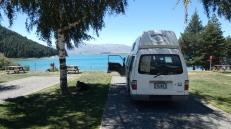 Widok z sypialni na Jezioro Tekapo